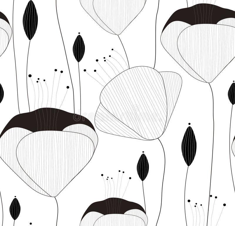 Modell, textur, tryck med utdragna blommor för hand och knoppar för vektor sömlös på den genomskinliga bakgrunden vektor illustrationer
