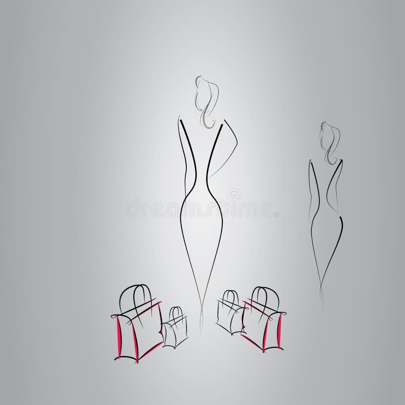 Modell- und Modemädchen mit Einkaufstasche, Kunst, Vektor, Design vektor abbildung