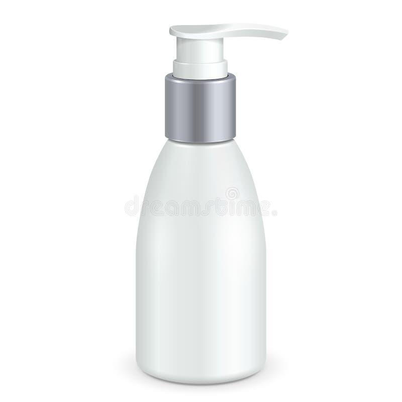 Modell UpGel, skum eller vit för flaska för pump för utmatare för vätsketvål plast- Åtlöje upp produkter på isolerad vit bakgrund royaltyfri illustrationer