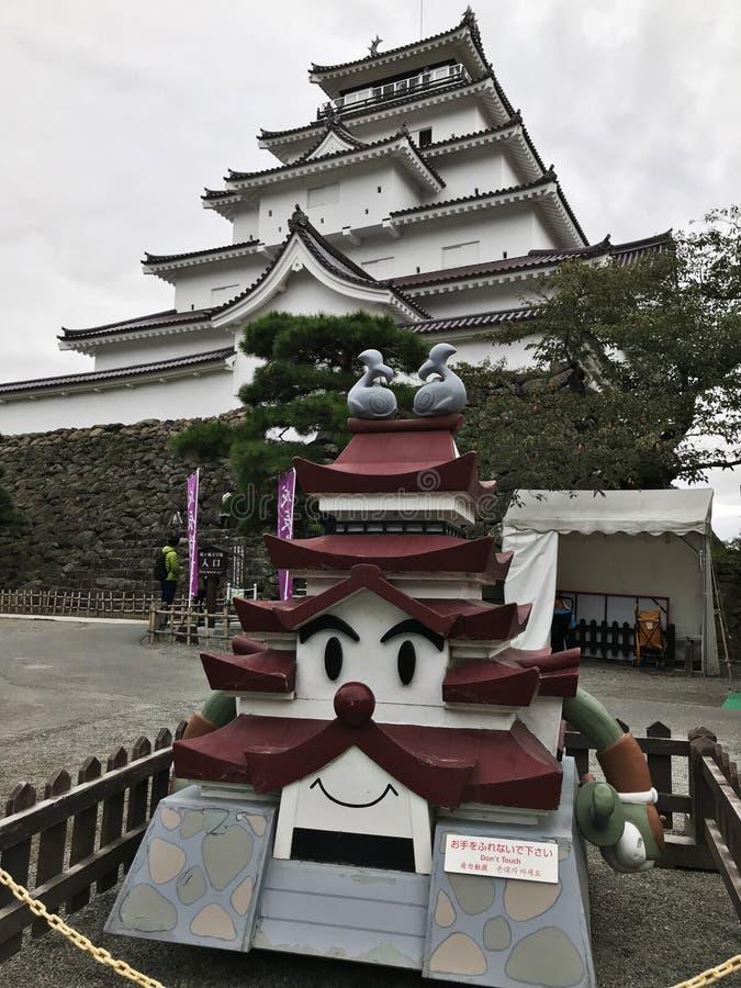 Modell von Aizuwakamatsu-Schloss oder von Tsuruga-Schloss oder Kurokawa-Schloss in Japan lizenzfreies stockfoto