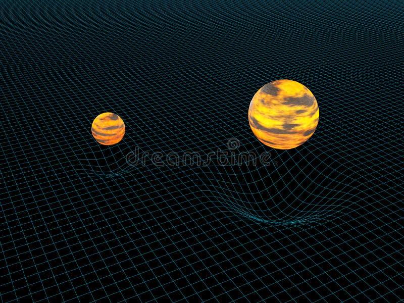 Modell von zwei Gegenständen und von ihrer Gravitation lizenzfreie abbildung