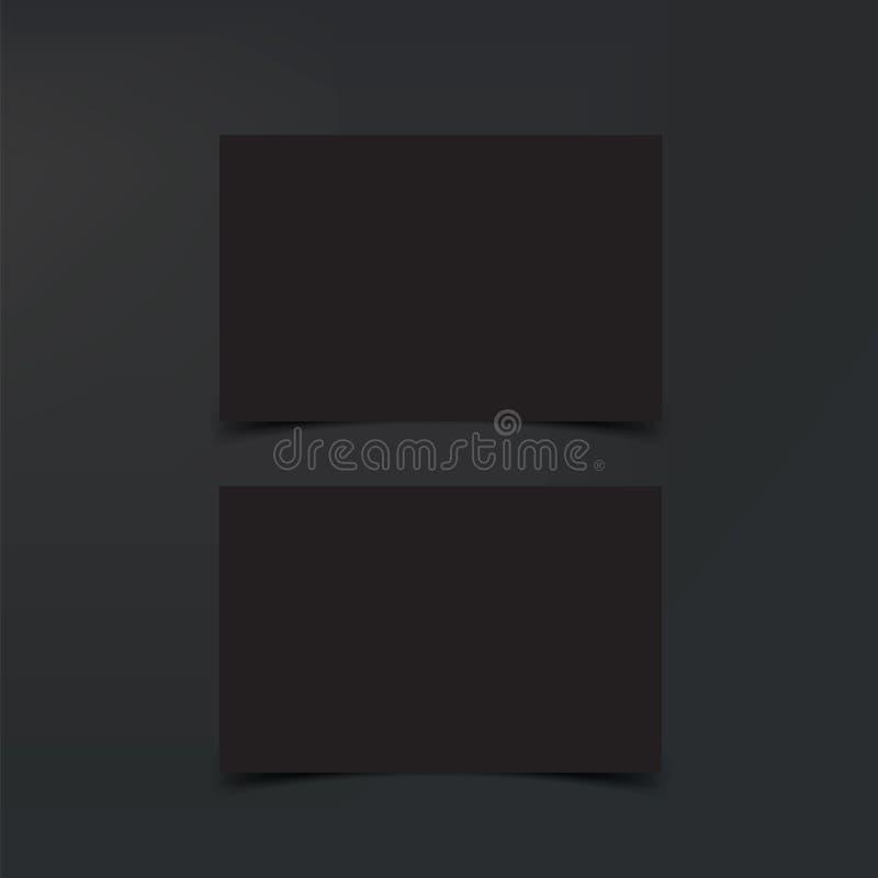 Modellaffärskort Svarta affärskort, tom mall Kort på svart bakgrund royaltyfri illustrationer