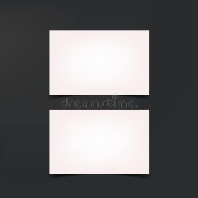 Modellaffärskort Vita affärskort, tom mall royaltyfri illustrationer