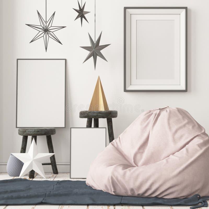 Modellaffisch i inre i skandinavisk stil med en platsp?se royaltyfria foton