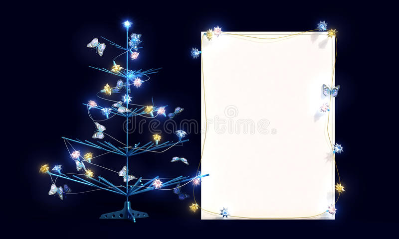 Modellaffisch med julgranen och fjärilar staffli stock illustrationer