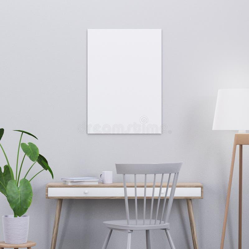 Modellaffischen i en modern inre med en konsol och en stol, 3D framför arkivfoton