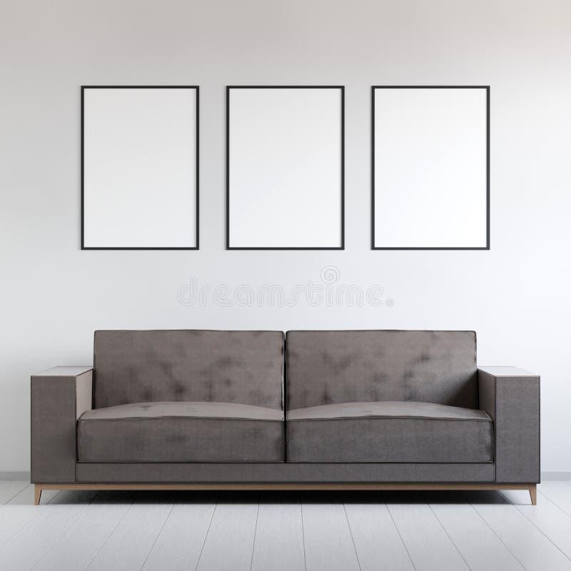 Modellaffischen i inre med soffan, 3D framför vektor illustrationer