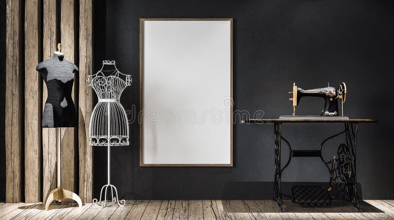 Modellaffischram i atelier royaltyfri bild