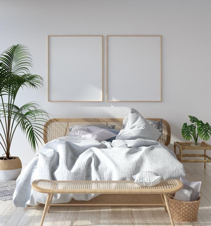 Modellaffischram i skandinaviskt sovrum, bohemisk stil royaltyfri illustrationer