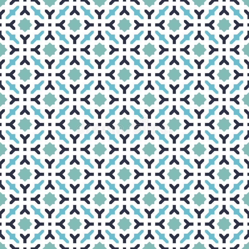 Modellbakgrund för abstrakta sömlösa dekorativa geometriska blått & för grön färg vektor illustrationer