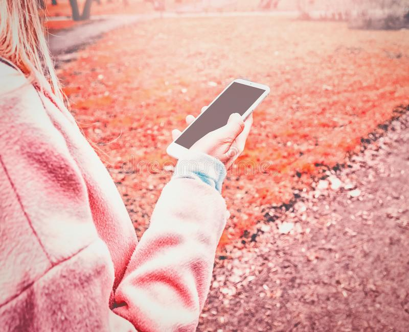 Modellbild av skärmen för mellanrum för mobiltelefon för handinnehavsvart den vita royaltyfri foto