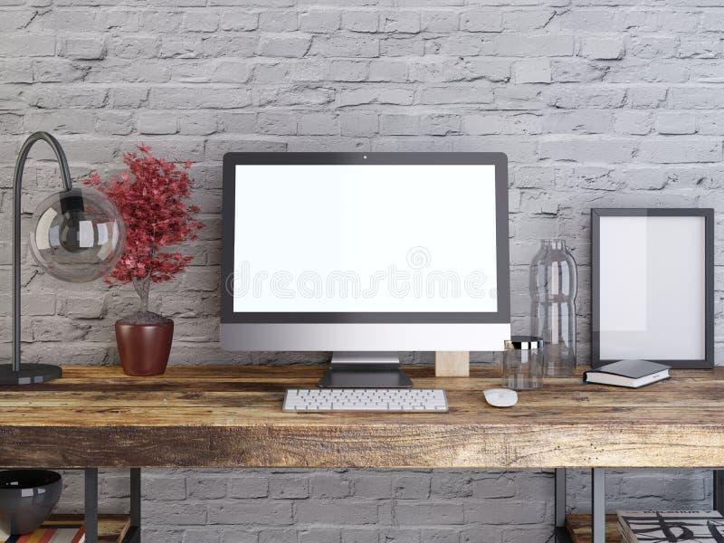 Modellbildskärm på en träskrivbordshipsterstil stock illustrationer