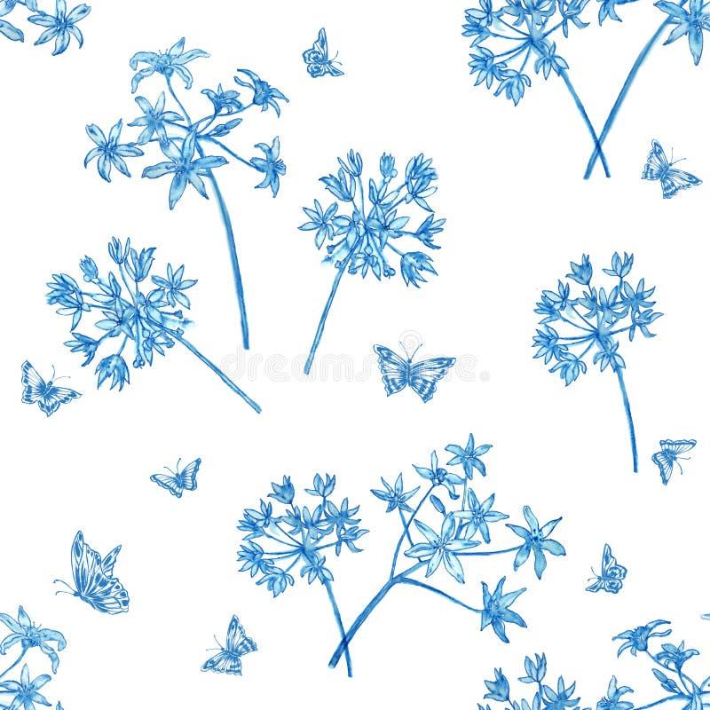 Modellblommablått och fjärilar royaltyfri foto