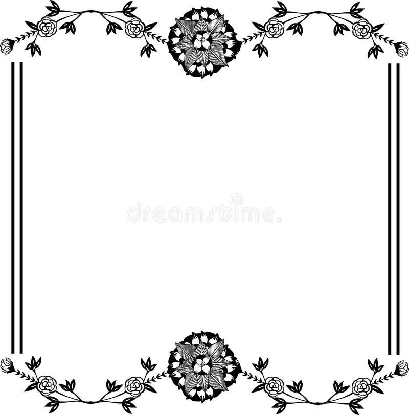 Modellblommaram i svartvit färg vektor stock illustrationer