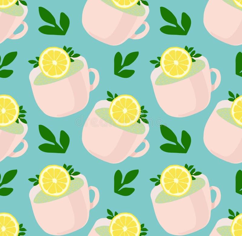 Modellen av älskvärt te rånar med citron- och gräsplansidor Uppfriskande te Vektormodell på den blåa backgraunden royaltyfri illustrationer