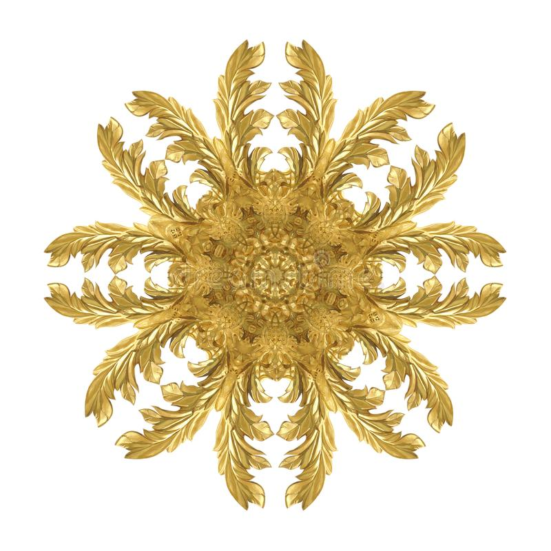 Modellen av guld- målarfärg för dekorativ metall snider på vit bakgrund royaltyfri bild