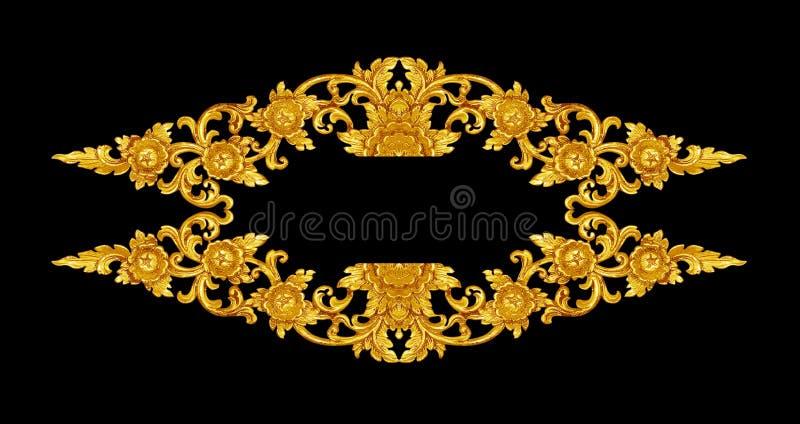 Modellen av tr? snider guld- m?larf?rg f?r garnering p? svart bakgrund royaltyfria bilder