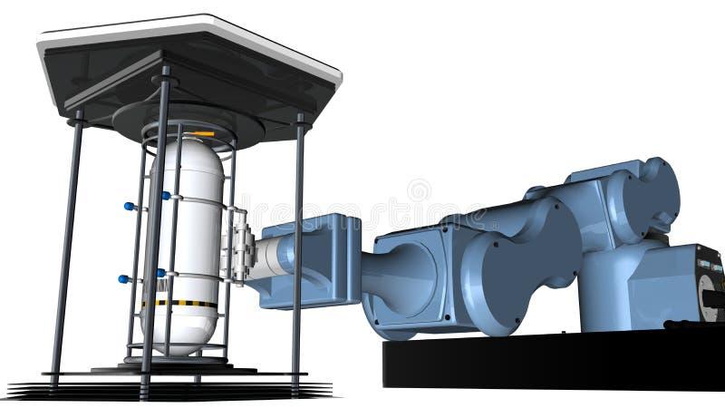 modellen 3D av den mekaniska armen för den blåa roboten med klämmahjälpmedlet på slutet av armen rymmer en reflekterande behållar stock illustrationer