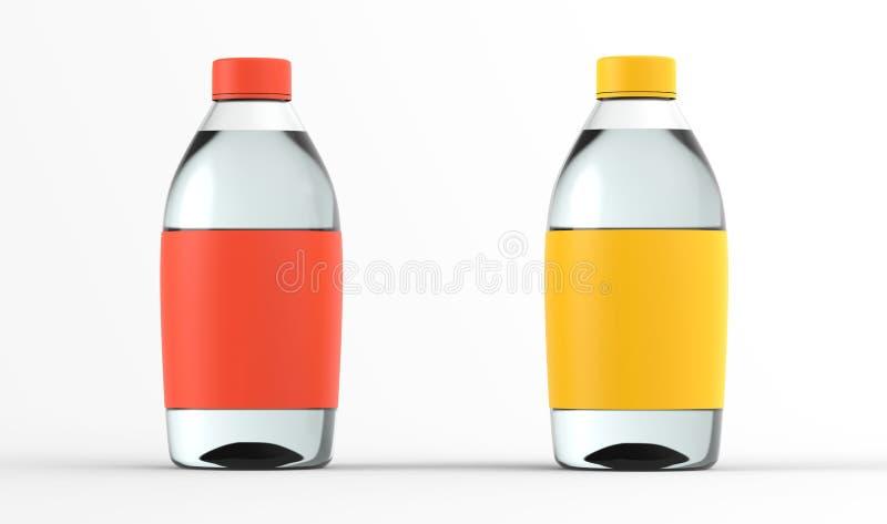 Modellen 3d för glasflaskauppsättningvatten framför isolerat vektor illustrationer