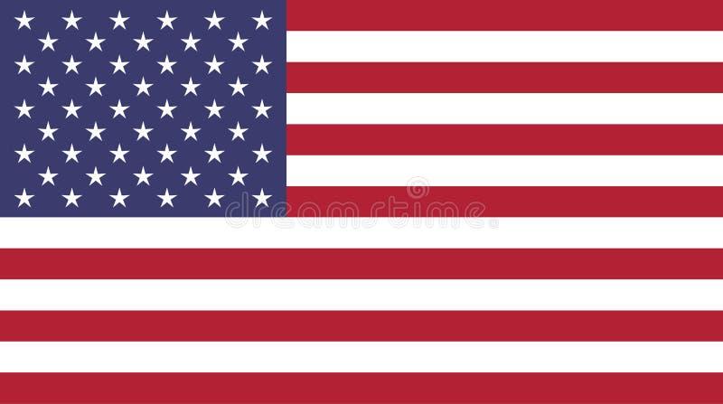 Modellen för Amerikas förenta statervektorflaggan i original- färger består av femtio stjärnor på röd blå bakgrund och vitband stock illustrationer