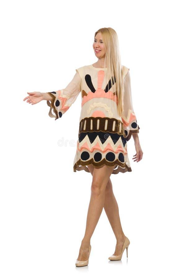 Modellen för blont hår som bär märkes- kläder royaltyfria foton