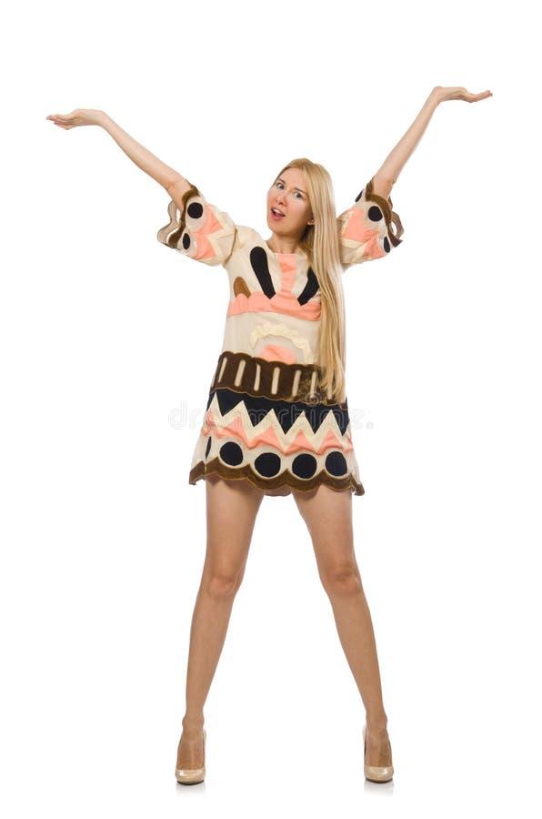 Modellen för blont hår som bär märkes- kläder arkivfoton