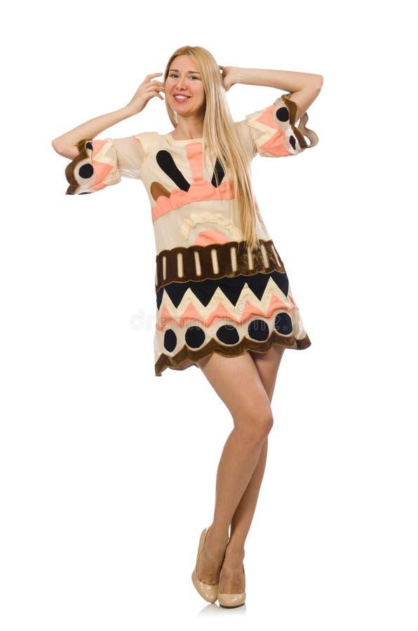 Modellen för blont hår som bär märkes- kläder arkivbild