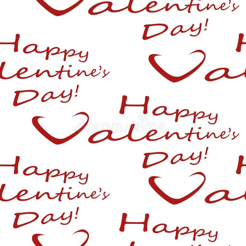 Modellen för dagen för valentin s ordnar till den sömlösa med lyckönsknings- inskrifter och hjärtor på en bakgrund, för utskrift  royaltyfri illustrationer