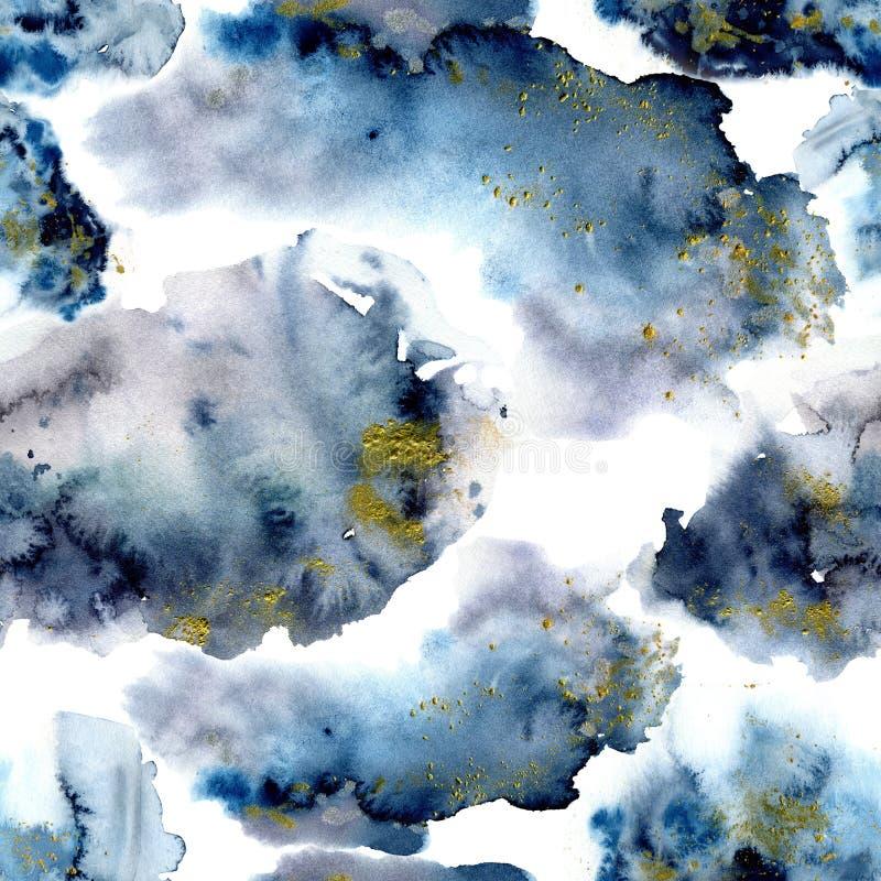 Modellen för den blåa vintern för vattenfärgen blänker den abstrakta med guld Handen målade blått, navi och gula fläckar Feriebac vektor illustrationer