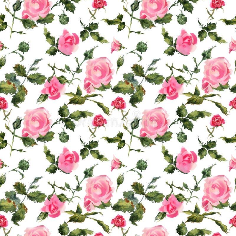 Modellen för den handgjorda vattenfärgen för blommor steg den försiktiga sömlösa royaltyfri illustrationer