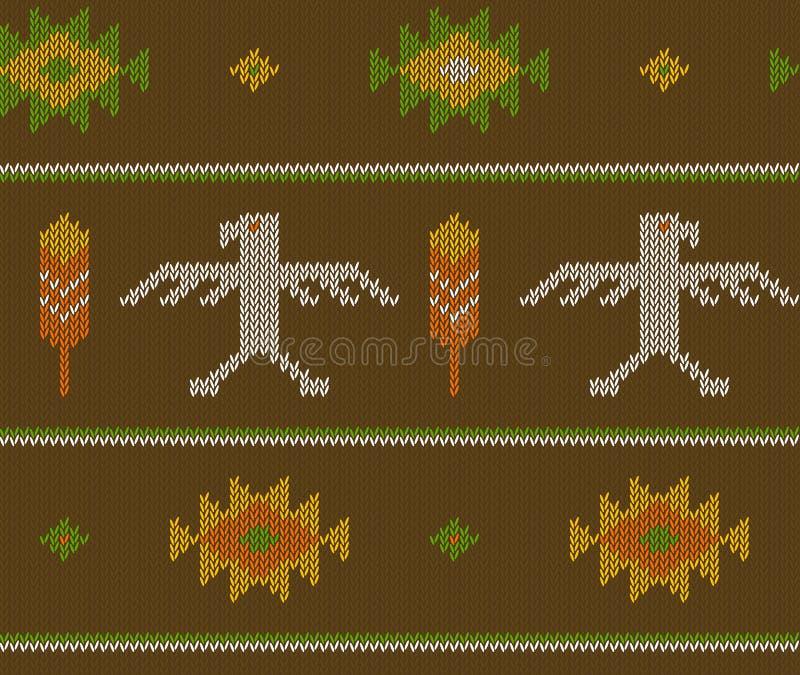 Modellen för den Knited bohovektorn knited den sömlösa modellen med aztec pilar, örnar och fjädrar vektor illustrationer