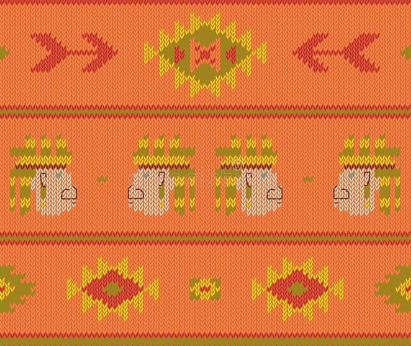 Modellen för den Knited bohovektorn knited den sömlösa modellen med aztec pilar vektor illustrationer