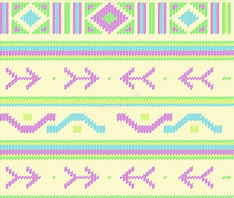 Modellen för den Knited bohovektorn knited den sömlösa modellen med aztec pilar, trible designmodell vektor illustrationer