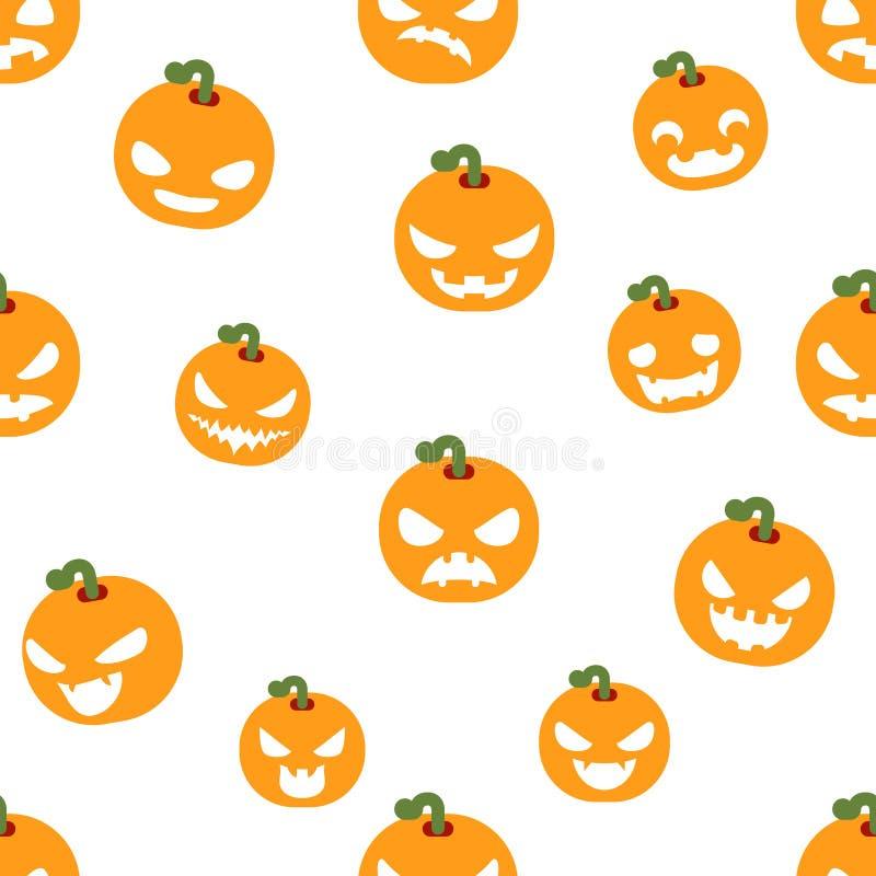Modellen för emojien för leendet för framsidor för sömlös garnering för halloween partipumpa som planlägger den läskiga framlänge stock illustrationer