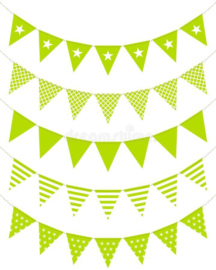 Modellen för fem böjde den gröna Bunting kedjor sömlöst royaltyfri illustrationer