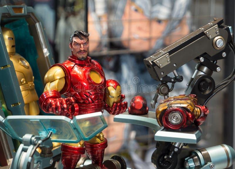 Modellen för järnmanleksaken i komisk version är det sällsynta samlingsobjektet för Marvel royaltyfria foton