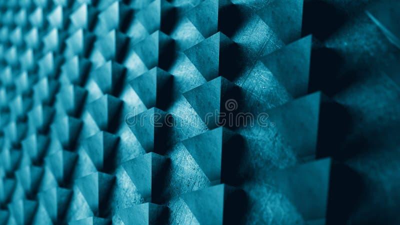 Modellen för metallväggabstrakt begrepp av trianglar 3D framför illustrationen arkivfoton