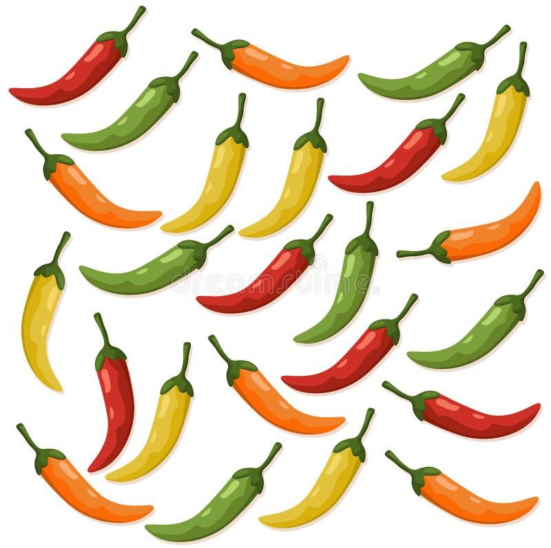 Modellen för peppar för den varma chili specificerade färgrik bakgrund för vektorillustrationmallen vektor illustrationer