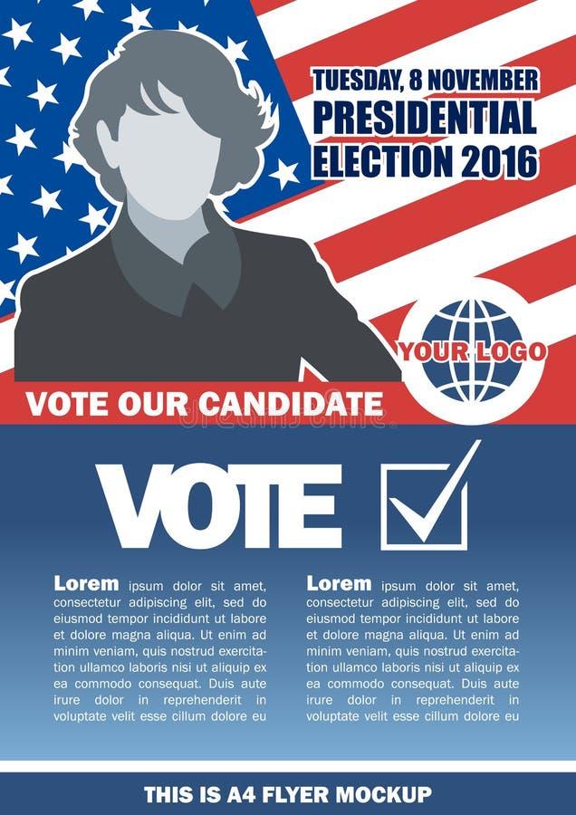 Modellen 2016 för reklambladet för det USA-valet a4 med landsöversikten, röstar checkboxen och kvinnligkandidaten vektor illustrationer