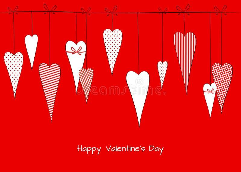 Modellen med en teckning av klotterhjärtor i ärtor gjorde randig dekorativ romantisk bakgrund för buren för valentins kort för da royaltyfri illustrationer