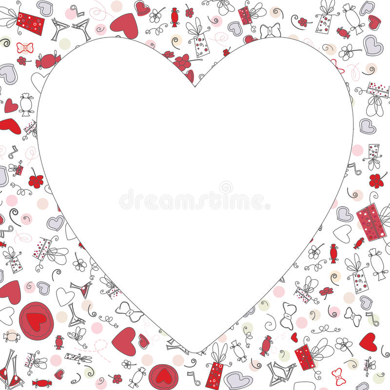 Modellen med valentinhjärtor, skissar teckningen för din design fotografering för bildbyråer