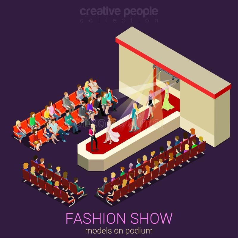 Modellen op podium in vector vlak modeshowconcept stock illustratie