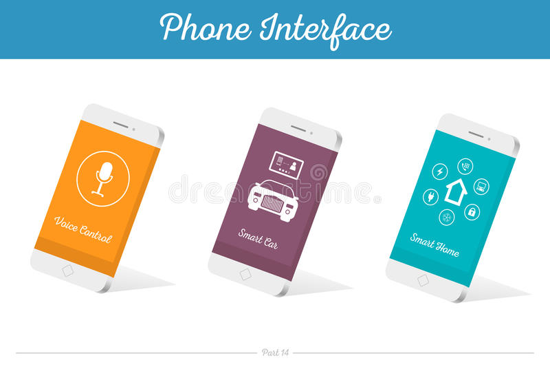 Modellen van interface de Vector 3D Smartphone met Media Symbolen stock illustratie
