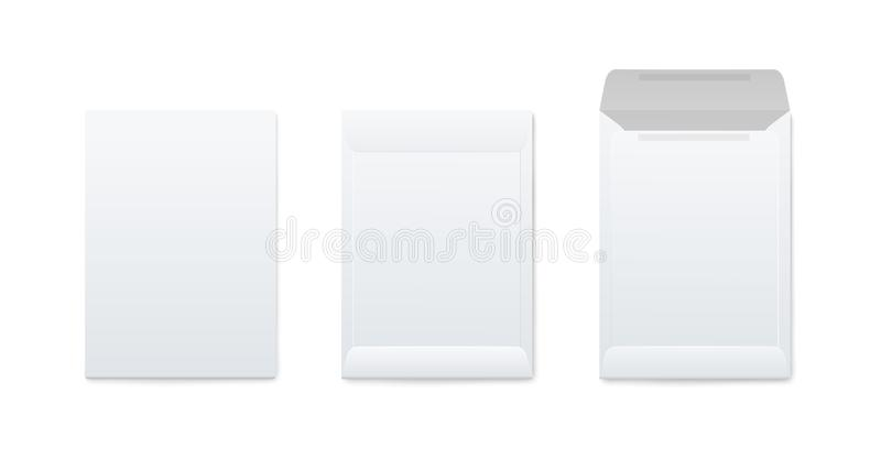 Modellenreeks van verticale lege open en gesloten witte enveloppen realistische stijl stock illustratie