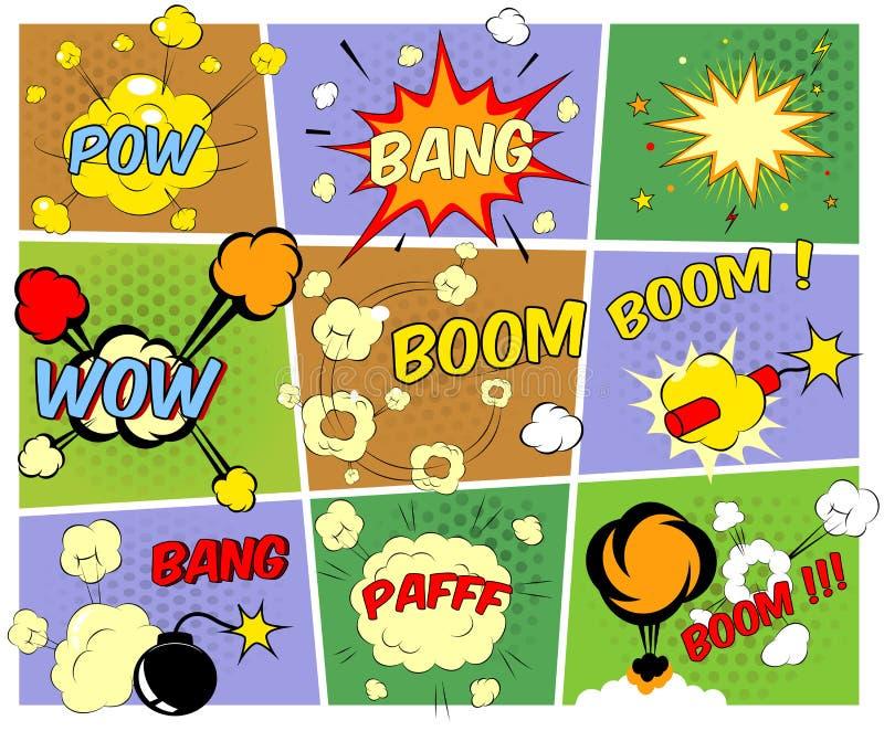Modeller av humorbokanförandebubblor royaltyfri illustrationer