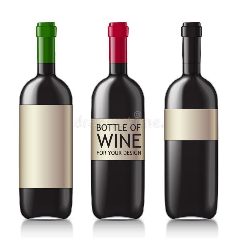 Modeller av svarta tomma vinflaskor stock illustrationer