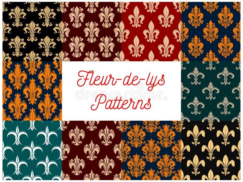 Modeller för kunglig fransk lilja för fransk lilja sömlösa royaltyfri illustrationer