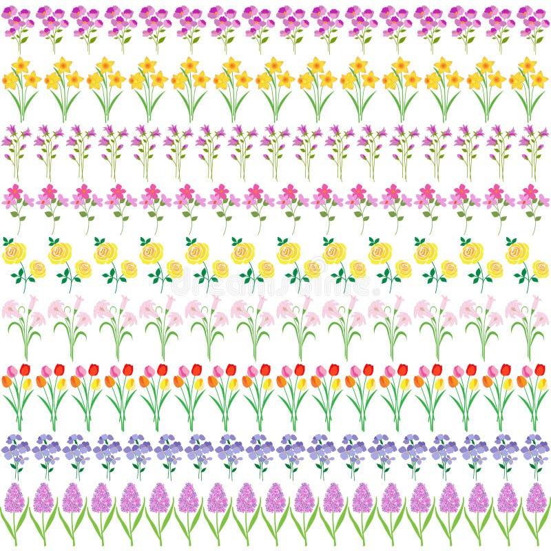 Modeller för vårblommagräns vektor illustrationer
