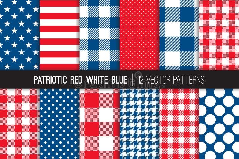 Modeller för vektor för patriotiska röda vitblått sömlösa royaltyfri illustrationer