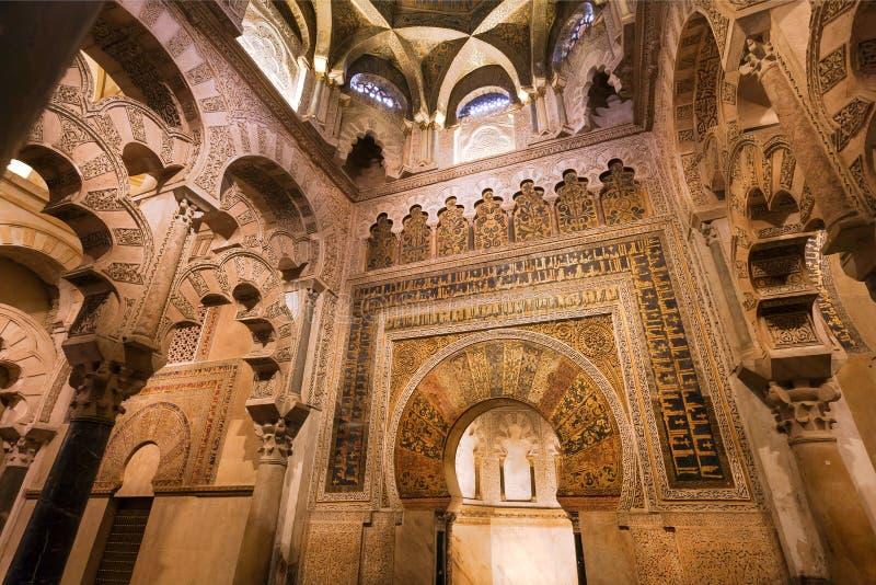 Modeller på bågar av berömda Mezquita i Cordoba, Spanien Moské - domkyrka av Andalucia Rome Italien, Europa fotografering för bildbyråer